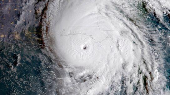 Se estima que el huracán Michael en 2018, que aquí se ve como una tormenta de ...