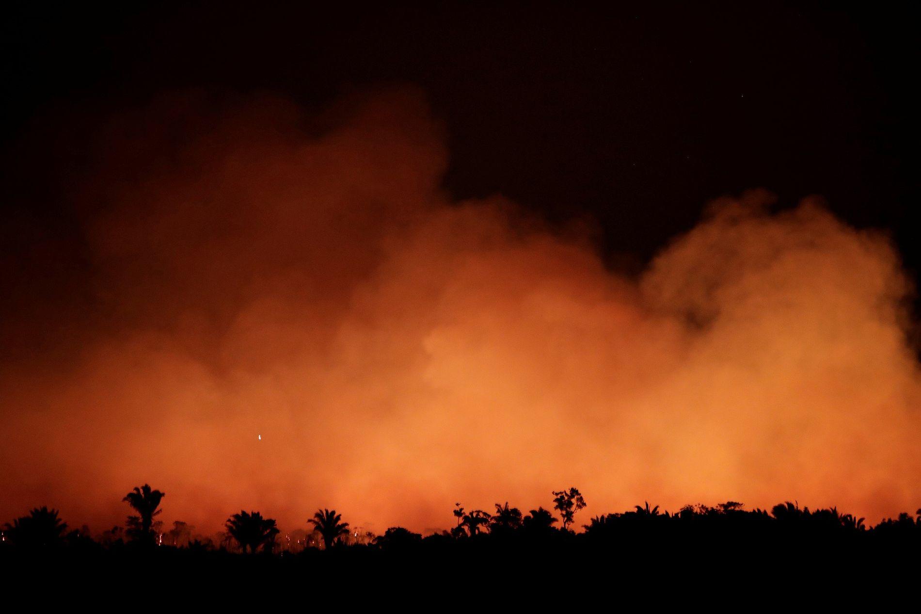 El humo llena el cielo durante un incendio en una zona de la selva amazónica cerca ...