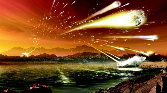 Una ilustración muestra cómo se hubiera visto la Tierra hace 3,8 u 4 mil millones de ...