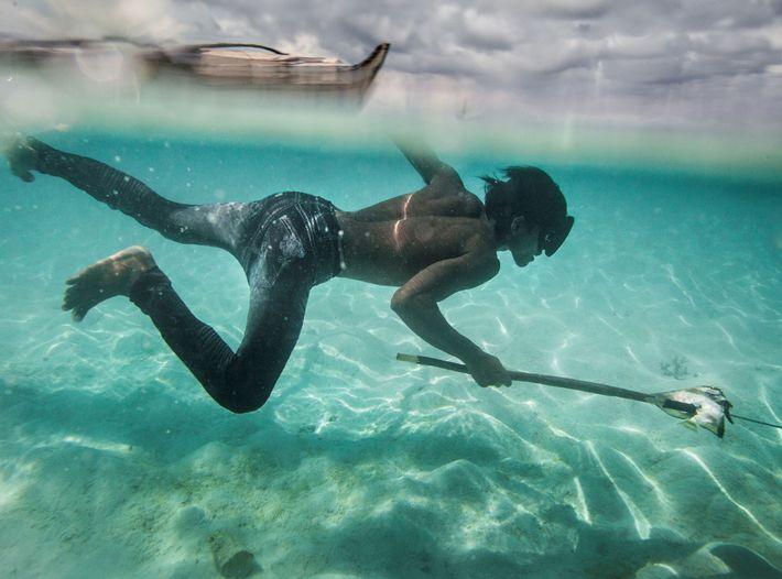 Un joven bajau llamado Dido pesca peces coralinos en la isla Mantabuan.