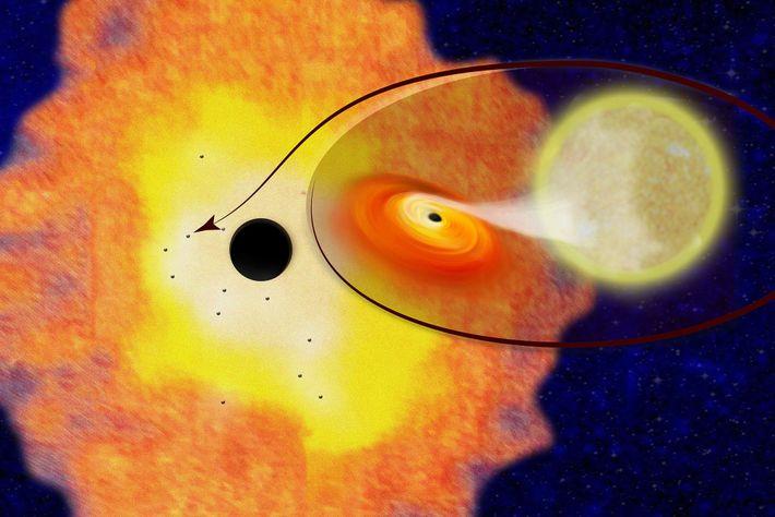 Una representación muestra a Sgr A* rodeado por una nube de gas y polvo dentro de ...
