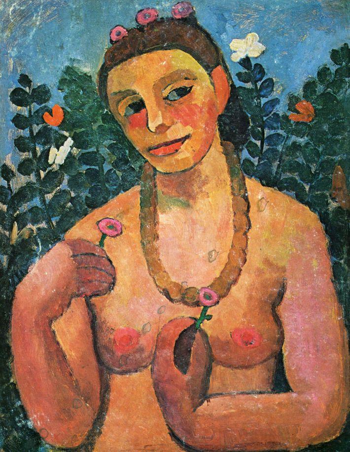La artista alemana Paula Modersohn-Becker fue la primera mujer que pintó un autorretrato desnuda.