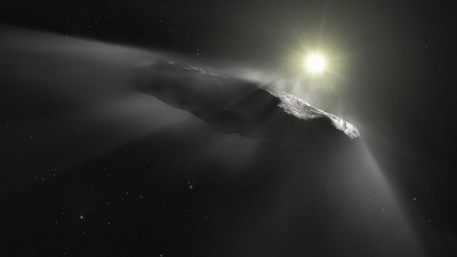 Ilustración de 'Oumuamua, un asteroide de forma extraña. Fue la primera roca espacial proveniente de otro ...
