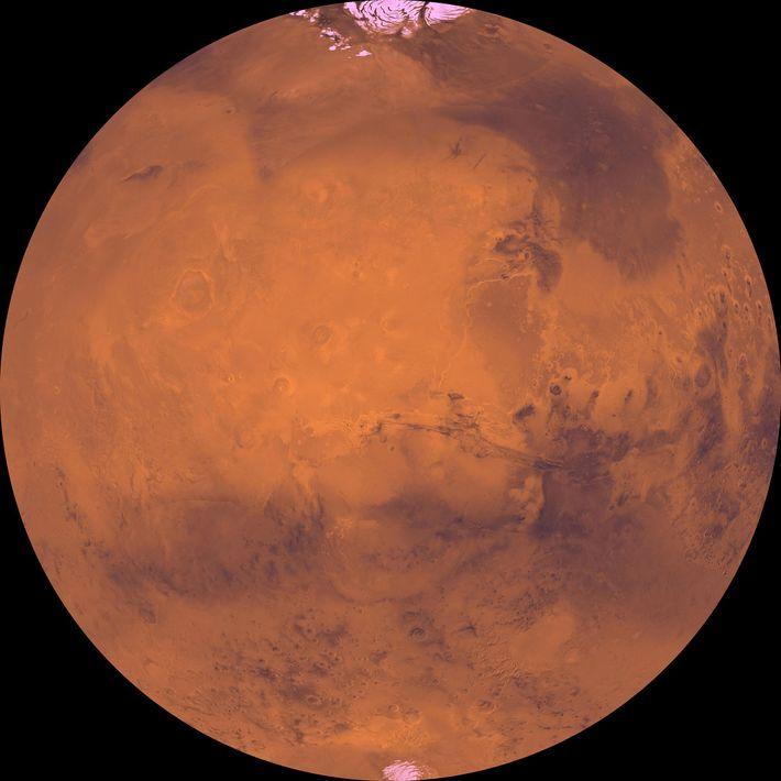 Las oscuras cuencas y los casquetes polares brillantes están entre las características más distintivas de Marte.