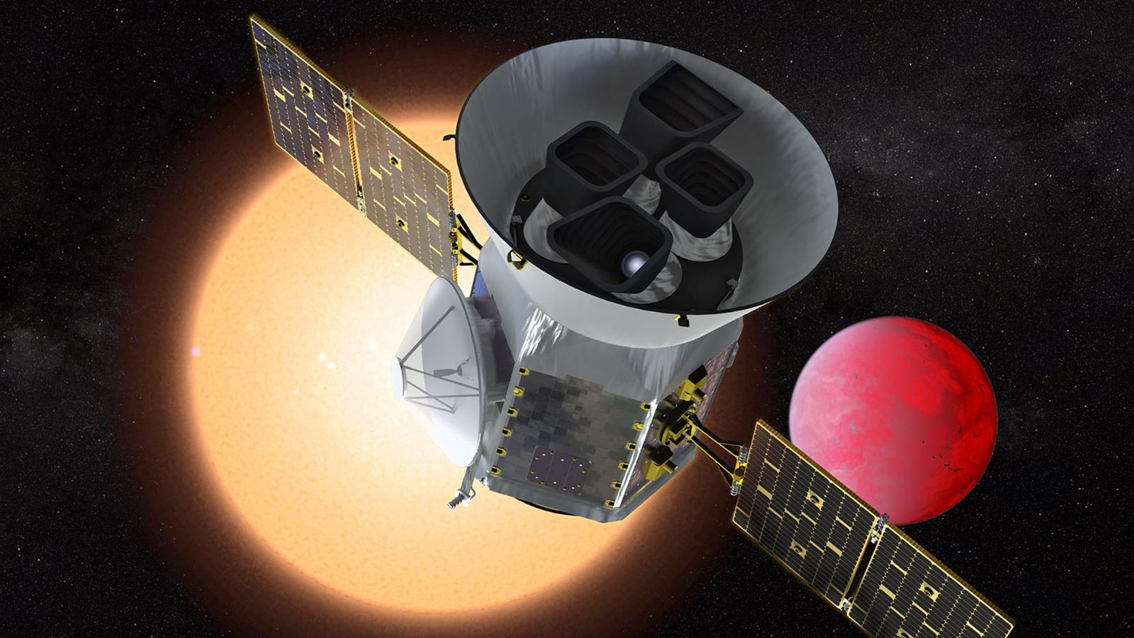 Una ilustración muestra el Satélite de Sondeo de Exoplanetas en Tránsito o TESS, que analizará el ...