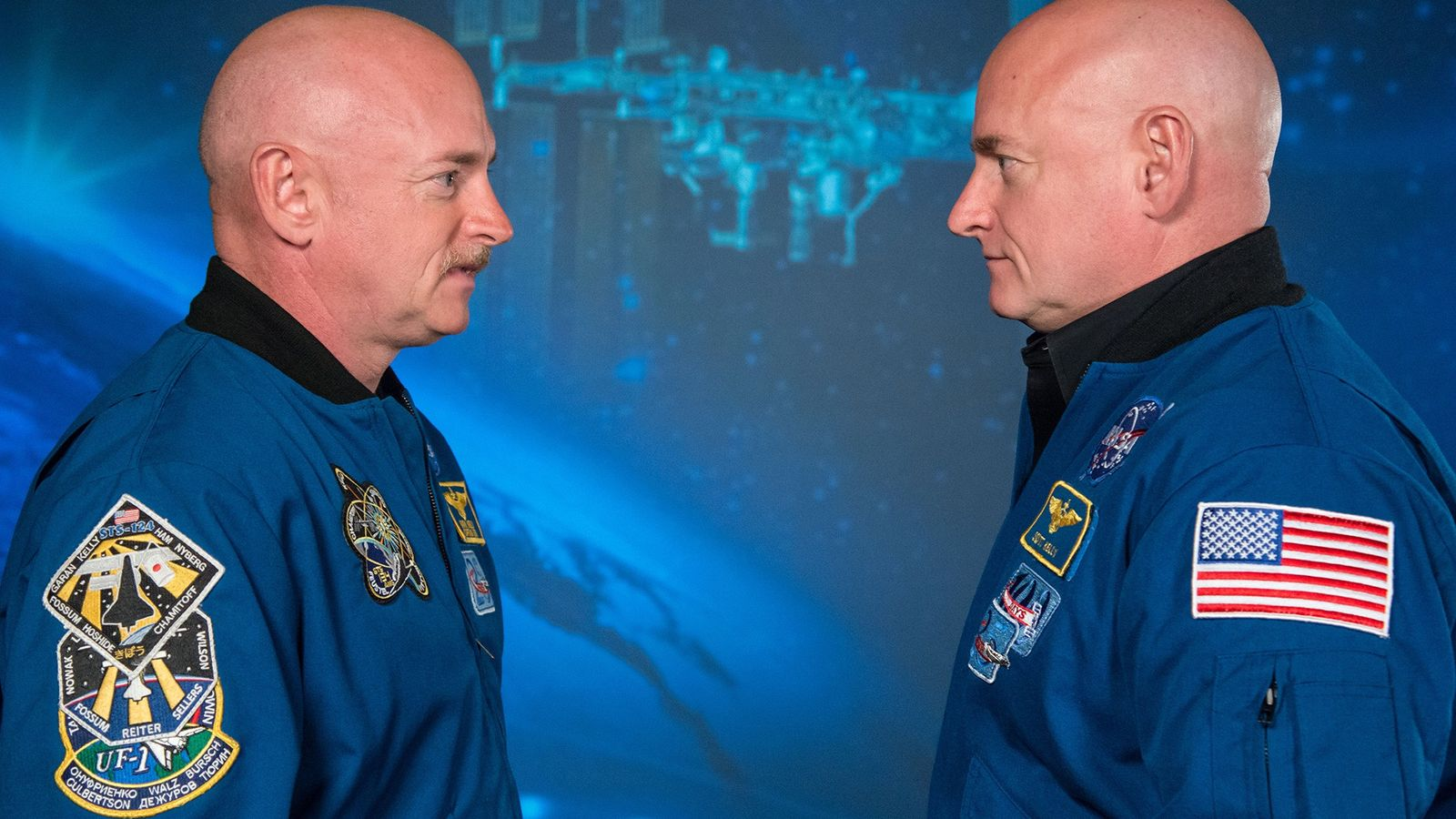 Astronaut Scott Kelly (right) and his twin brother, former astronaut Mark Kelly, attend a media event ...
