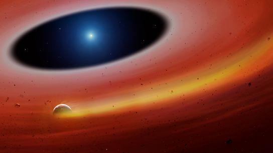 Un fragmento planetario orbita una estrella enana blanca en una ilustración del recién descubierto sistema.