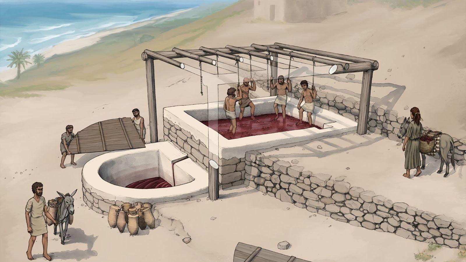 Reconstrucción artística de una prensa de vino en Tell el-Burak, vista desde el sudeste.