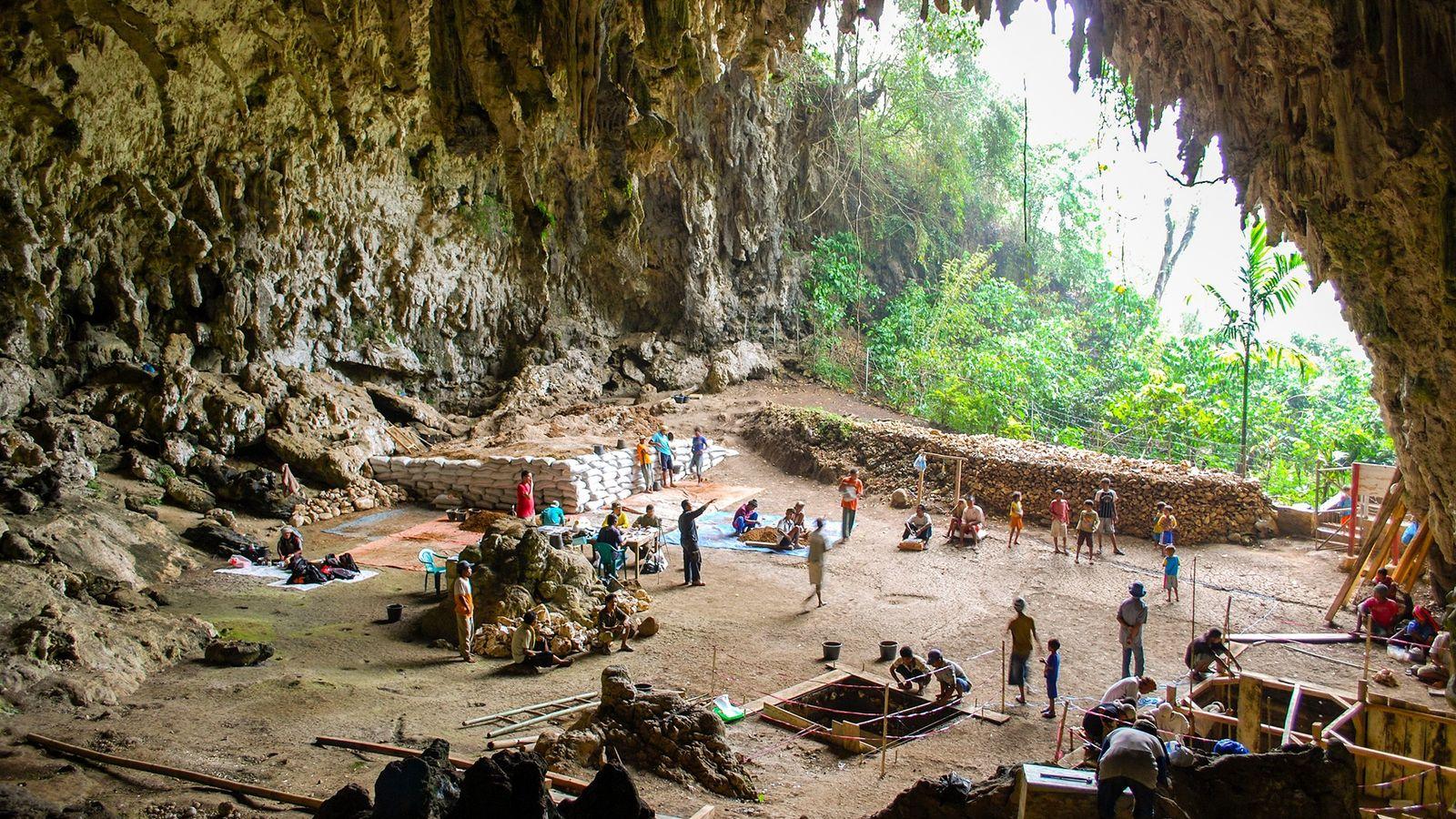 Los arqueólogos excavaron en Liang Bua, una cueva de piedra caliza en la isla indonesia de ...
