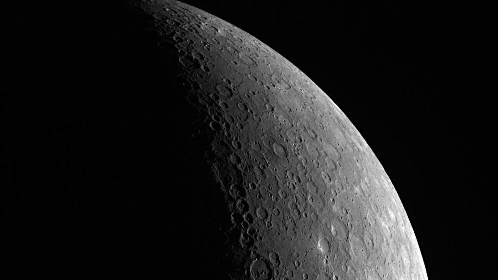 Una vista en primer plano del planeta Mercurio, que presentará su mejor espectáculo del año en ...