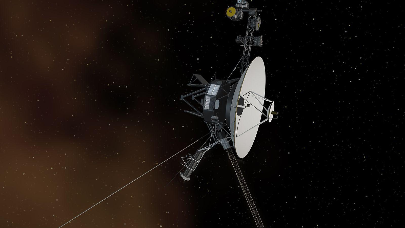 La Voyager 1 entra al espacio interestelar en una ilustración. La nave espacial de la NASA ...