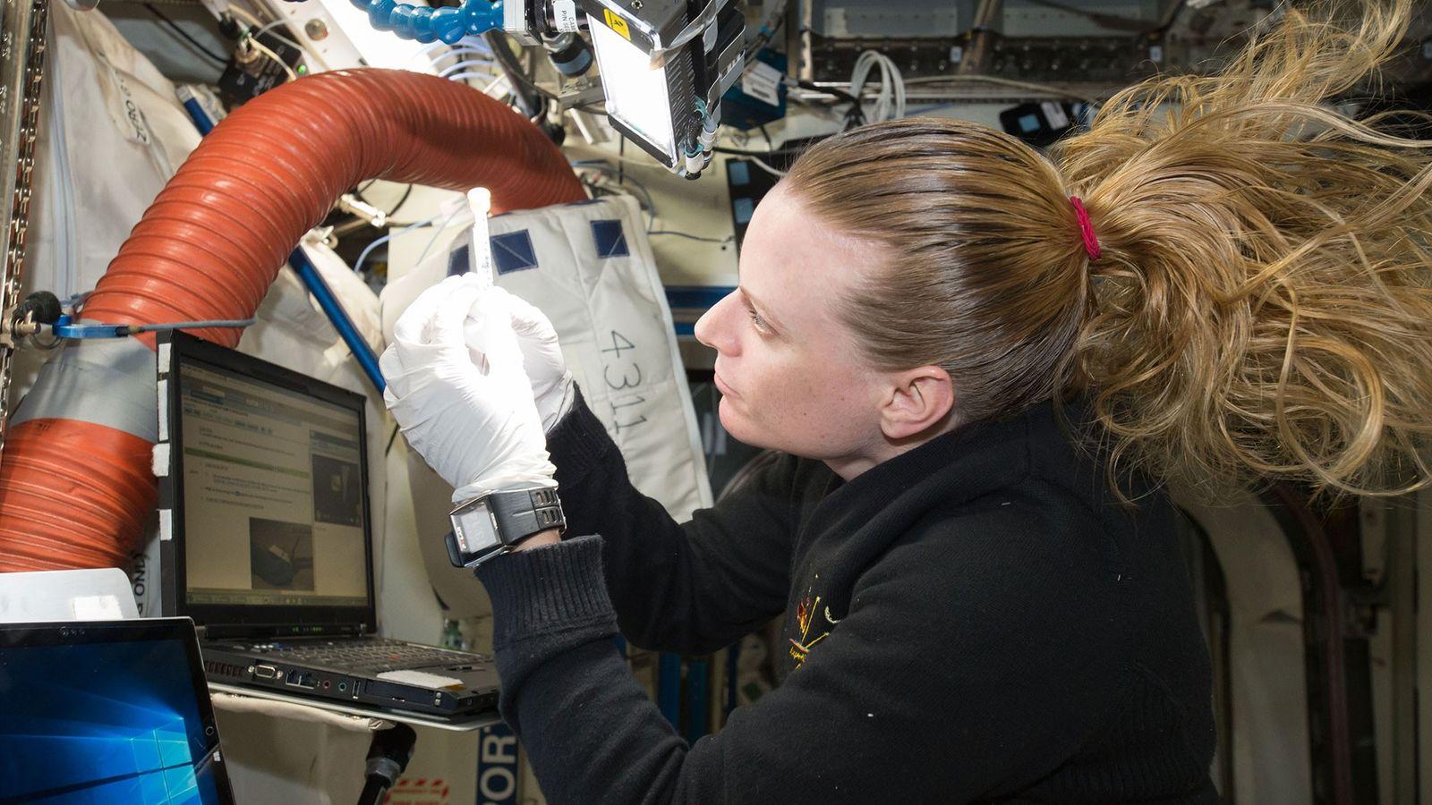 La astronauta Kate Rubins de la NASA trabaja en el experimento del secuenciador de biomoléculas a ...