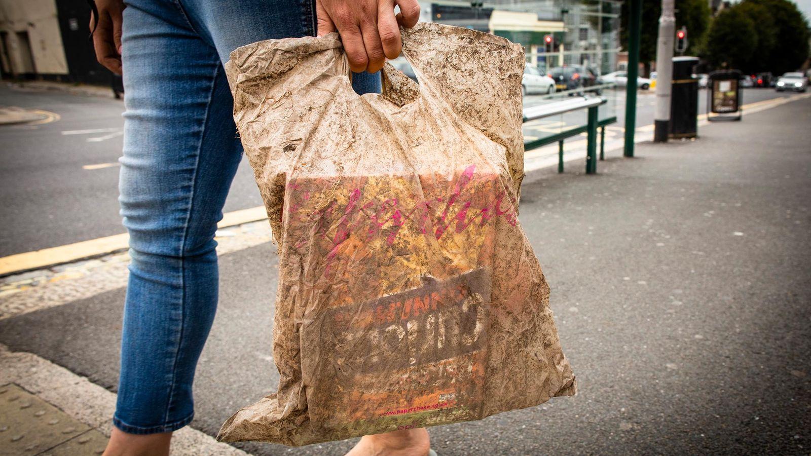 Una bolsa plástica enterrada durante tres años aún sirve para cargar una buena cantidad de alimentos ...