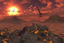 Pterosaurios volando sobre un paisaje volcánico durante el fenómeno que provocó la extinción masiva de dinosaurios ...