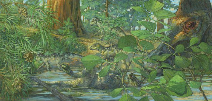 Reconstrucción del lugar de anidación del Hypacrosaurus stebingeri de la formación Two Medicine de Montana. En ...