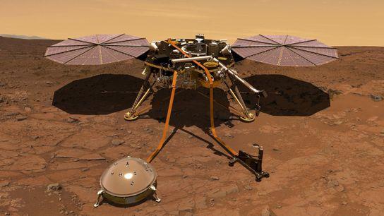 Ilustración de la sonda InSight en la superficie marciana. Los datos preliminares del magnetómetro de la ...