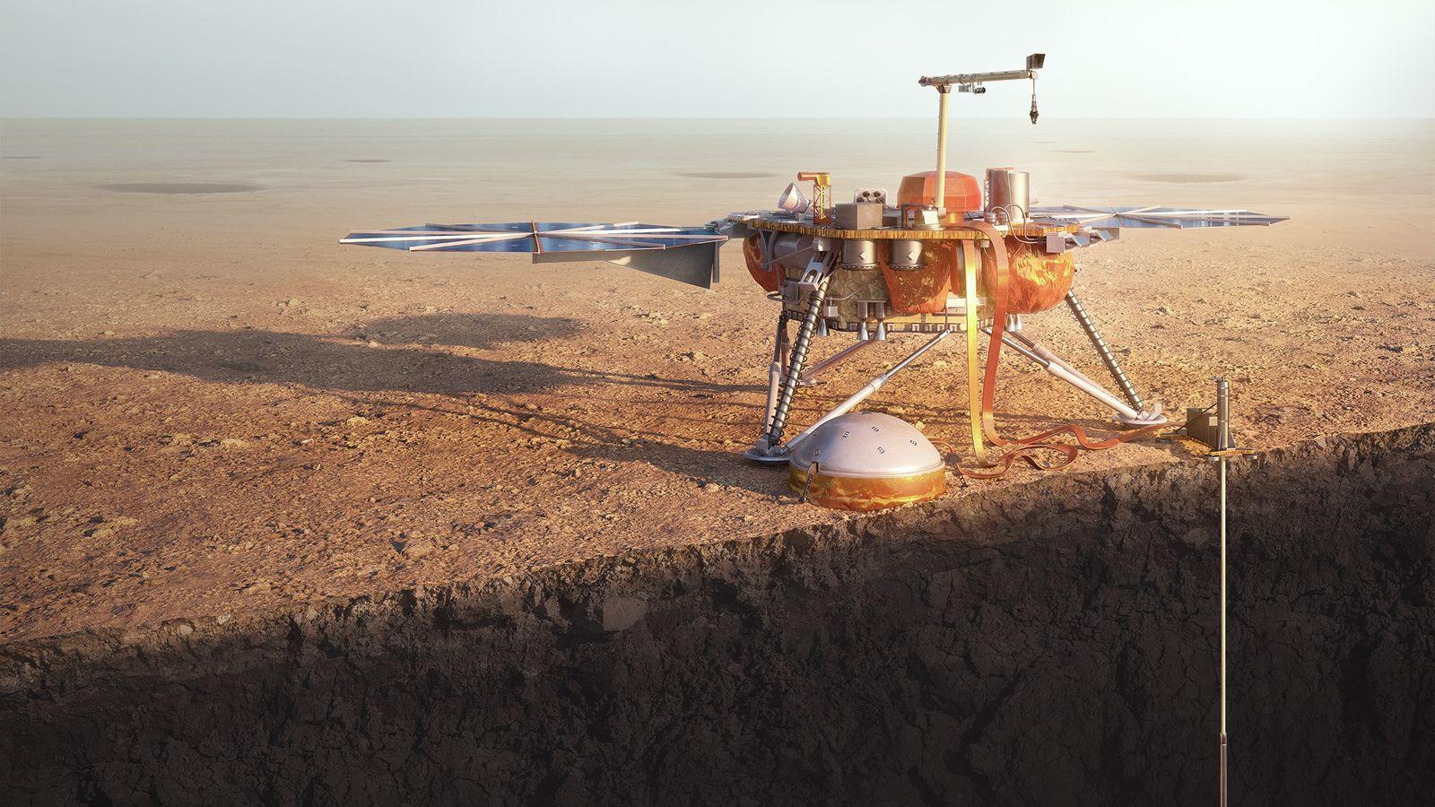 La sonda espacial InSight Mars de la NASA perfora el planeta rojo en una ilustración.