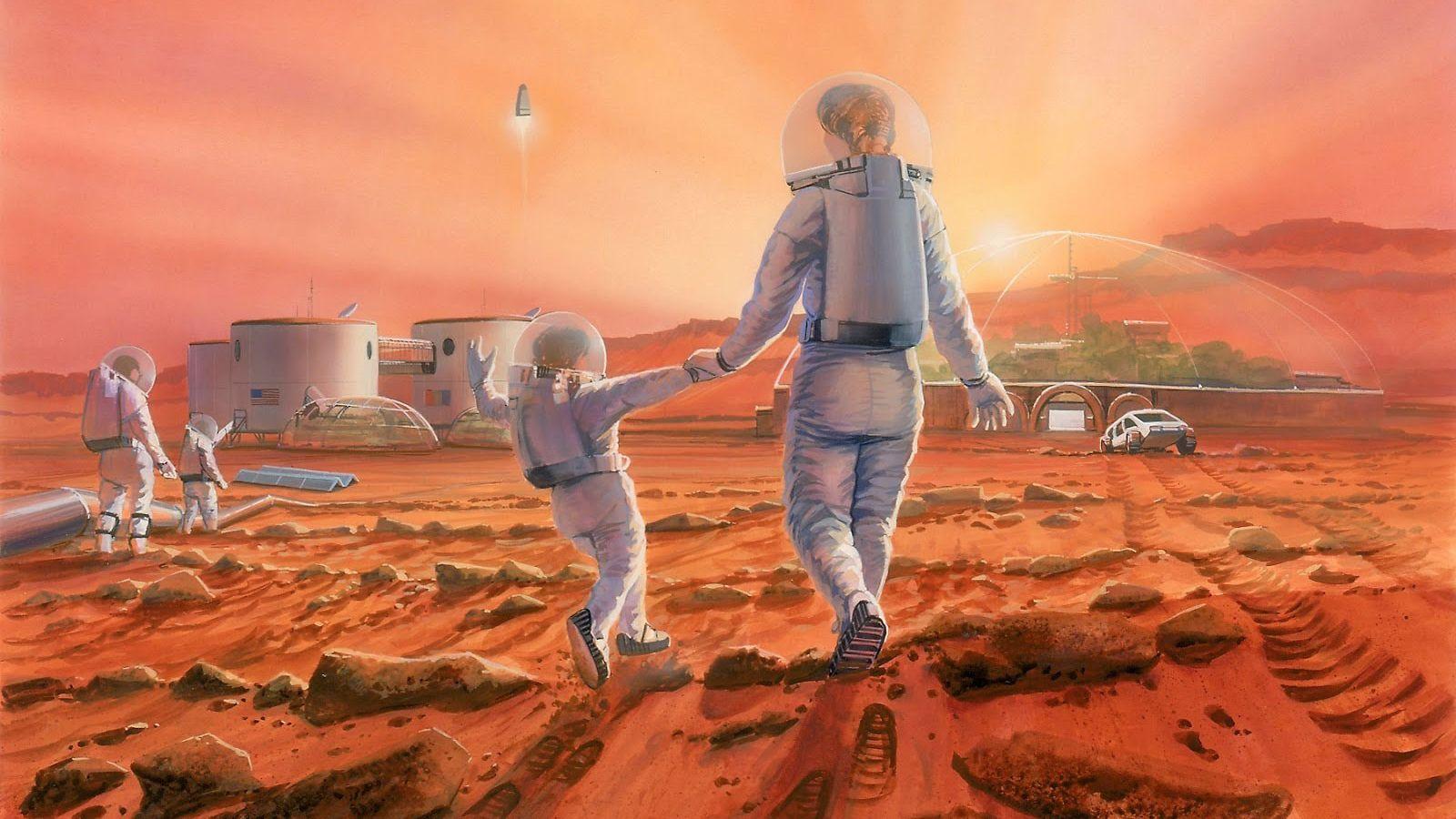 Una familia jugando en la superficie de Marte en una ilustración.