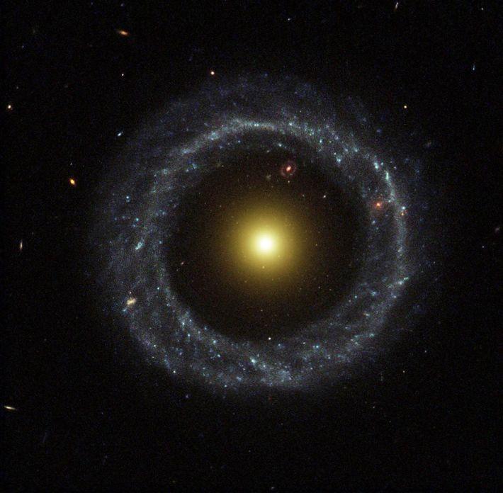 La rara forma de anillo del objeto de Hoag brilla en una imagen del Telescopio Espacial ...