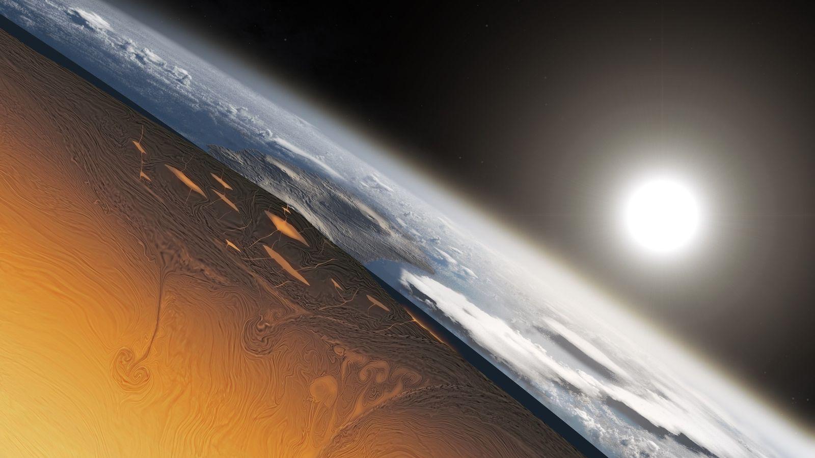 Esta ilustración muestra cómo se podría haber visto un corte a través de la Tierra hace ...