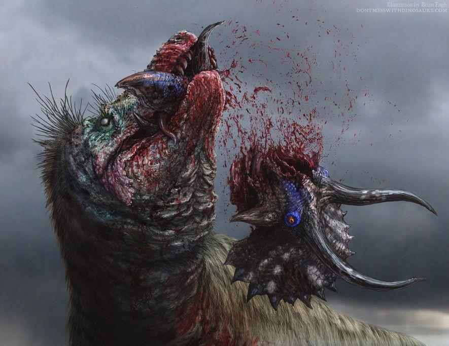 En un dibujo, un T. rex hace pedazos a su presa.