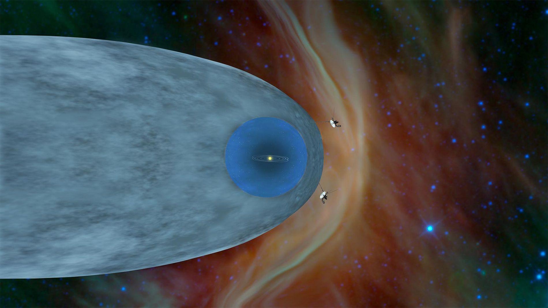 Una ilustración muestra la posición de las sondas Voyager 1 y Voyager 2 de la NASA fuera de la heliosfera, una burbuja protectora creada por el sol que se extiende mucho más allá de la órbita de Plutón.