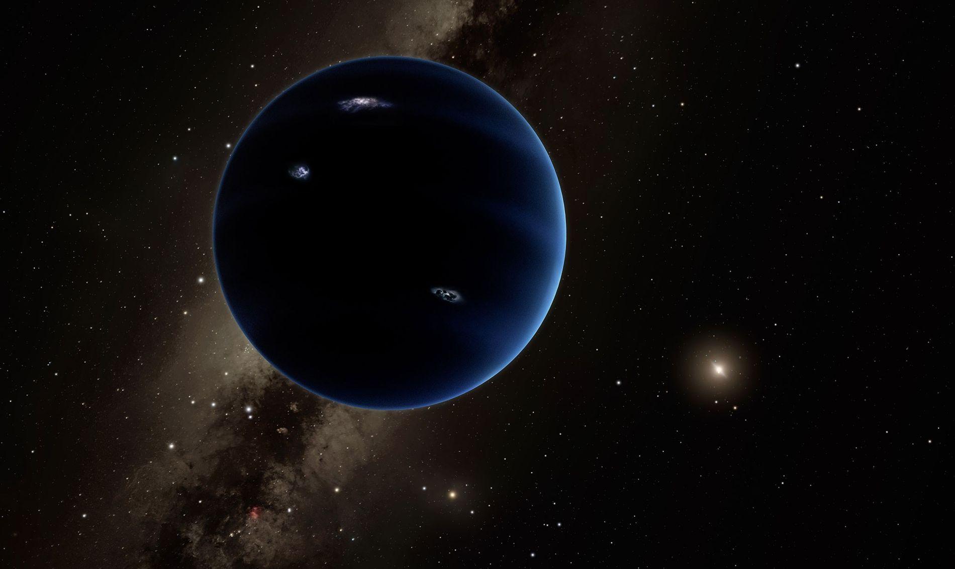 Un gran noveno planeta puede asomarse en las profundidades del sistema solar externo. El planeta, que se ilustra aquí, está lejos del Sol y se cree que es gaseoso como Urano y Neptuno, aunque más pequeño que los gigantes de hielo.