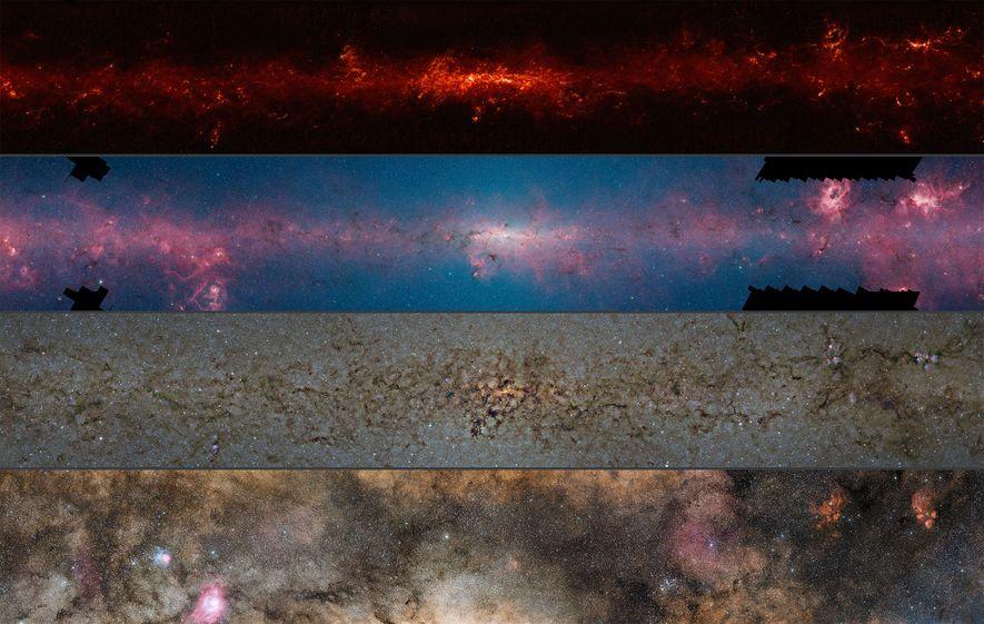 Esta comparación muestra las regiones centrales de la Vía Láctea observadas en diferentes longitudes de onda. ...