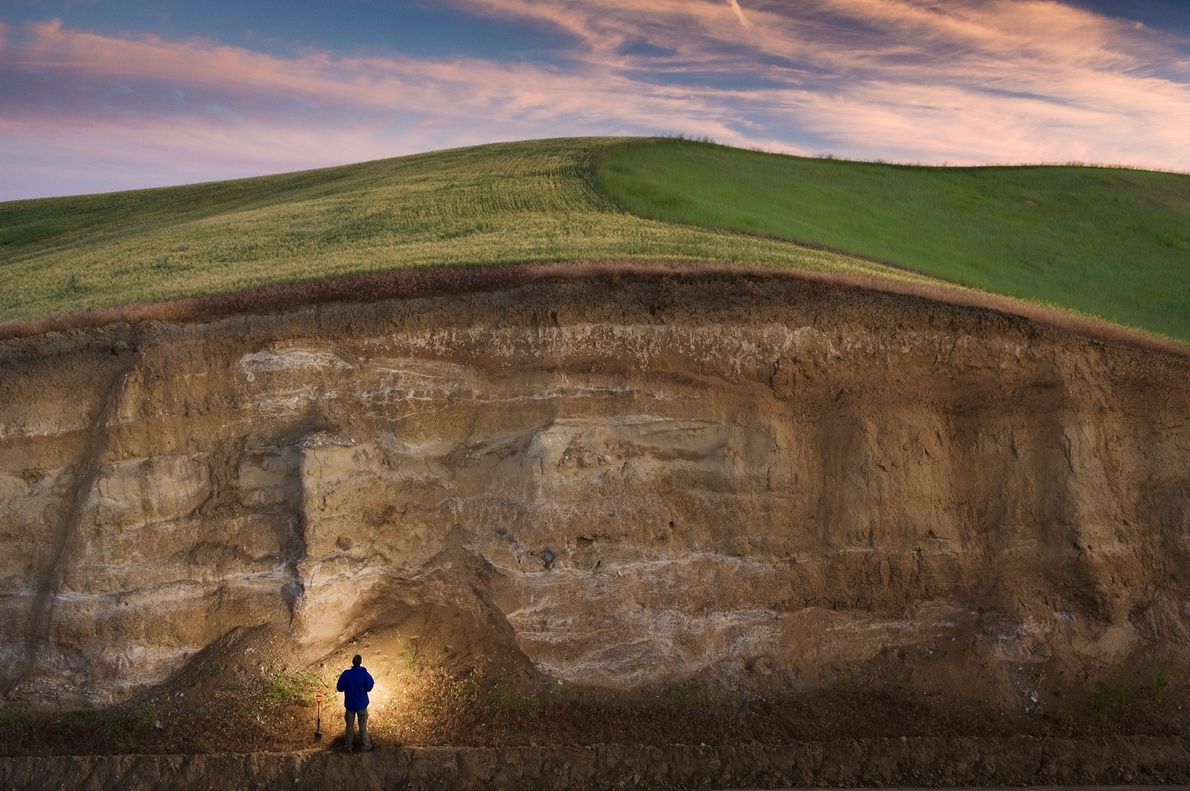John Reganold, de la Universidad Estatal de Washington, se encuentra junto a un profundo camino cortado ...