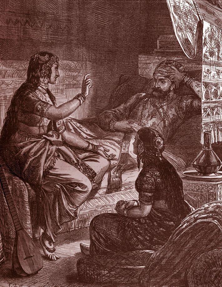 Scheherazade cautiva a su esposo con cuentos para dormir en Las mil y una noches.