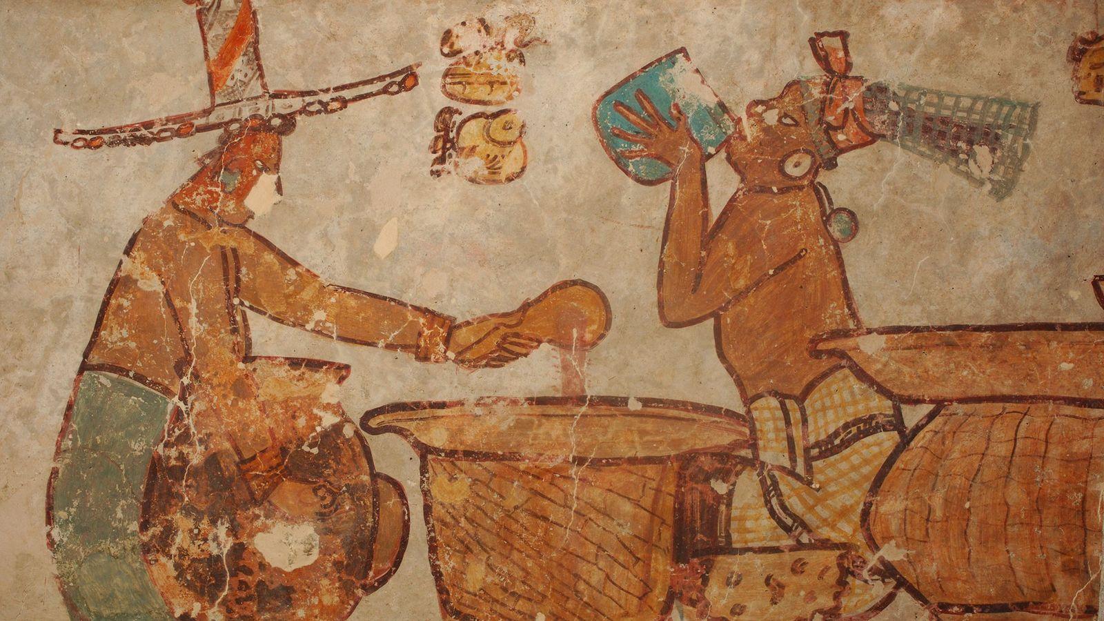 PASIÓN MAYA POR EL CHOCOLATE - Estas pinturas de la antigua ciudad maya de Calakmul muestran ...