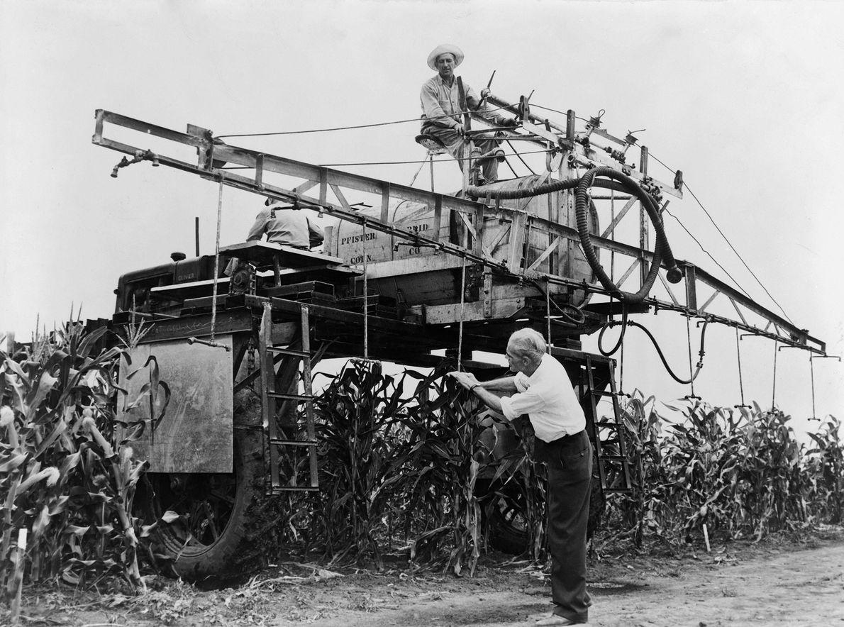 Los agricultores en Illinois rocían Syndeet, un insecticida que contiene DDT, en 1948. Aunque se otorgó ...