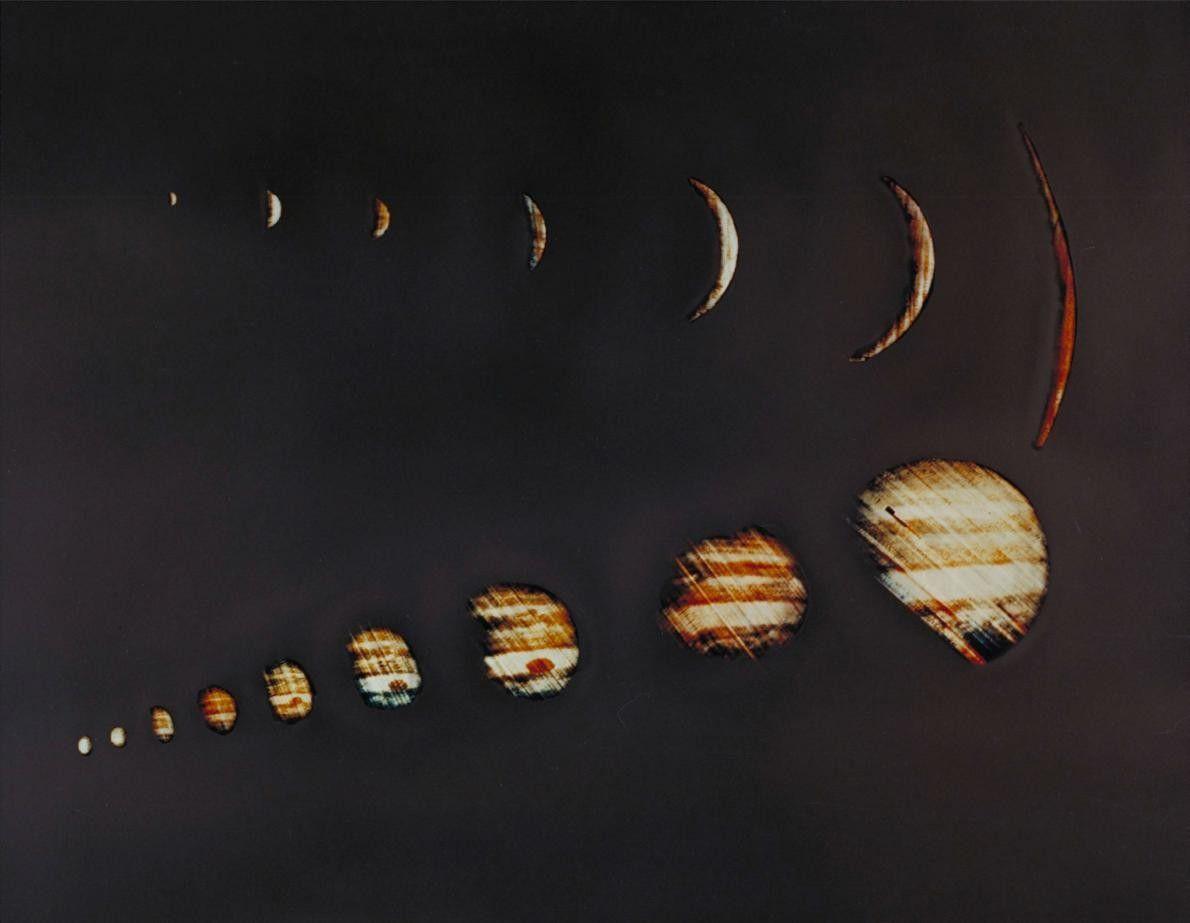 La sonda espacial Pioneer 10 de la NASA envió estas imágenes de Júpiter sacadas en su ...