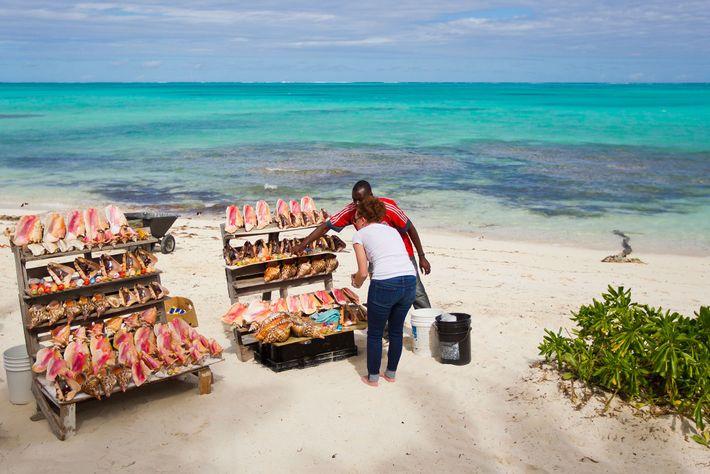 Una mujer compra caracoles en un puesto de recuerdos en una playa de Turks y Caicos. ...