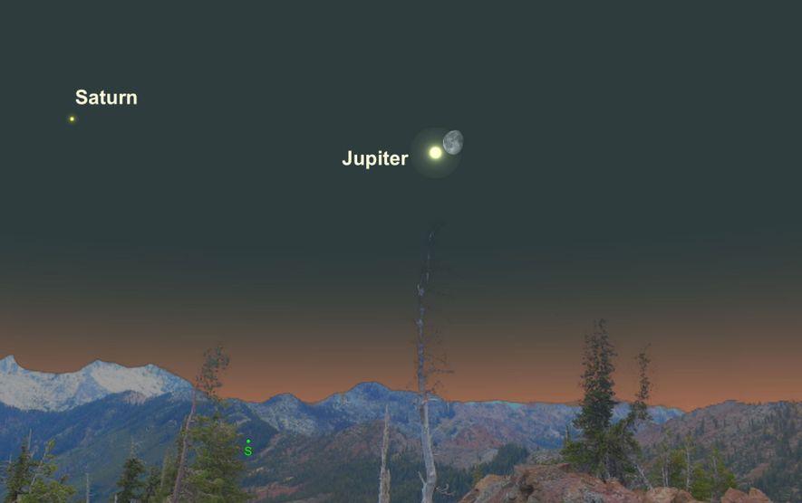 El brillante Júpiter estará especialmente cerca de la luna gibosa menguante el 23 de abril.