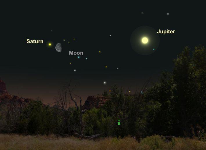 Saturno de color crema estará cerca de la luna el 25 de abril.