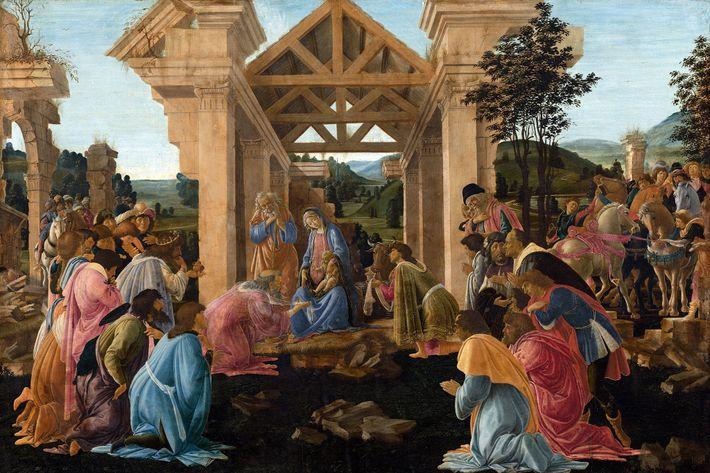 """Los tres Reyes Magos presentan sus regalos a Jesús en """"La Adoración de los Magos"""" de ..."""