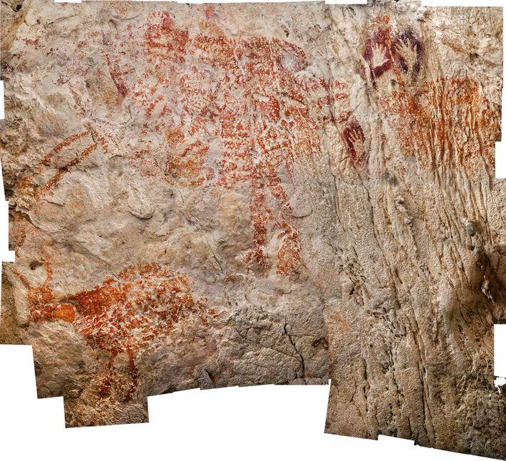 Con al menos 40.000 años, este trío de criaturas parecidas a las vacas (presentadas aquí en ...