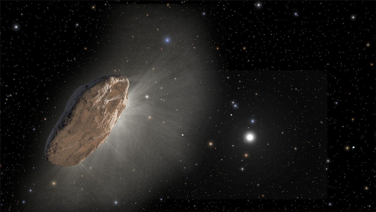 La ilustración de este artista muestra a 'Oumuamua, el primer visitante interestelar detectado. El 30 de ...
