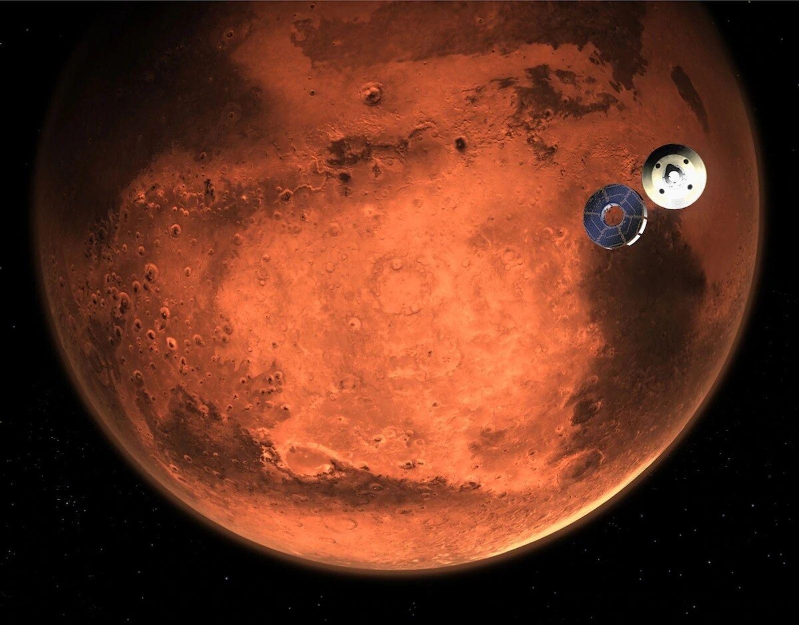 Esta ilustración muestra el rover Perseverance de la NASA despegando de la etapa de crucero de ...