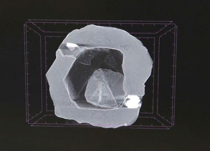 Esta imagen de rayos X muestra una pequeña gema ubicada en una cavidad hueca de un ...