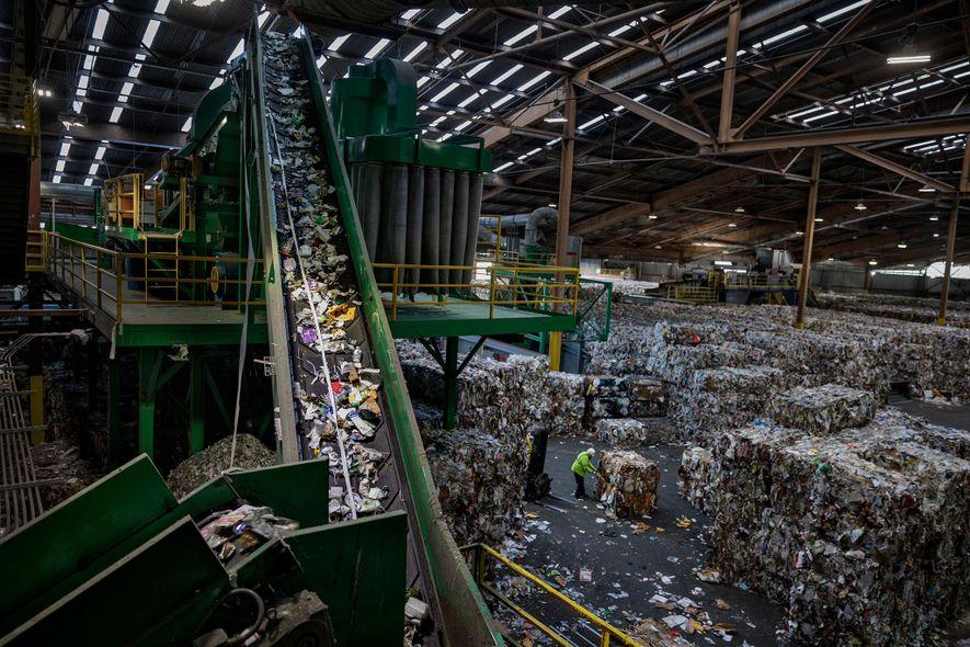 La planta de reciclaje más grande de Recology en San Francisco maneja entre 500 y 600 toneladas diarias. Una de las pocas plantas en los EE. UU. que aceptan las bolsas de compra, que ha más que duplicado el tonelaje que recicla en los últimos 20 años. La cinta transportadora lleva plástico mezclado a un clasificador óptico.