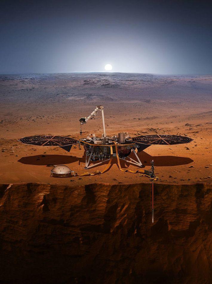 El módulo de aterrizaje InSight se encuentra en la superficie de Marte en una ilustración, que ...