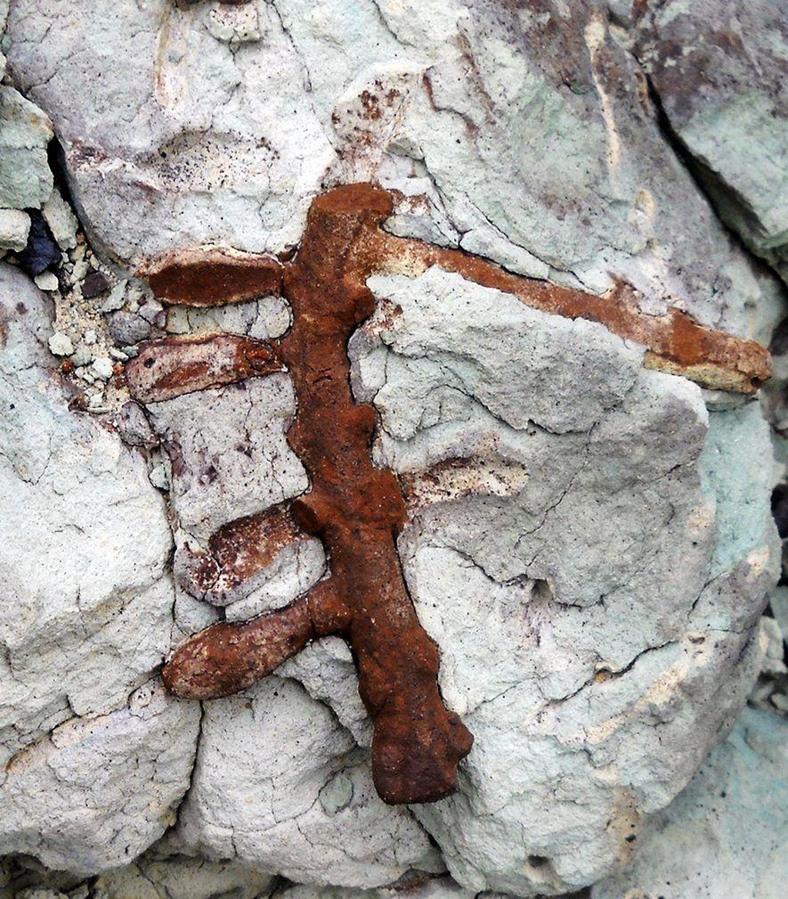 Los investigadores encontraron los nuevos nidos de abejas, Cellicalichnus krausei, en las rocas de la Formación ...