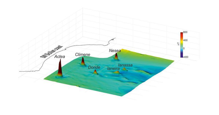 Este mapa 3D revela las anomalías magnéticas del fondo marino en el Canal de Sicilia. Cada ...
