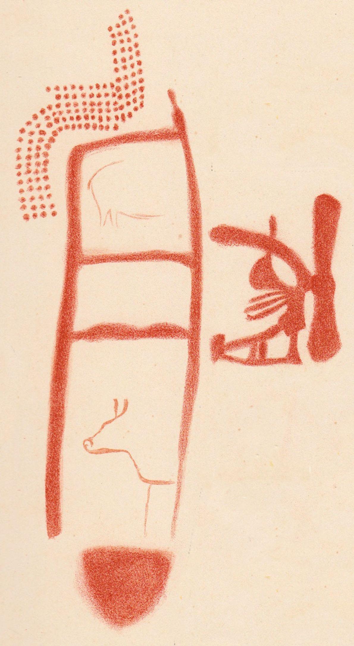 Un dibujo muestra a animales y otros símbolos en torno al trazo con forma de escalera. ...