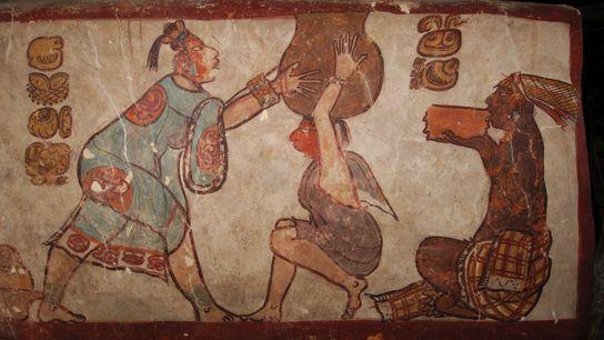 AMOR MAYA POR EL CHOCOLATE Estas pinturas de la antigua ciudad maya de Calakmul muestran la preparación ...