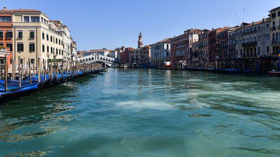 Mientras que los canales normalmente bulliciosos de Venecia están desiertos en medio de cuarentenas pandémicas, varias ...