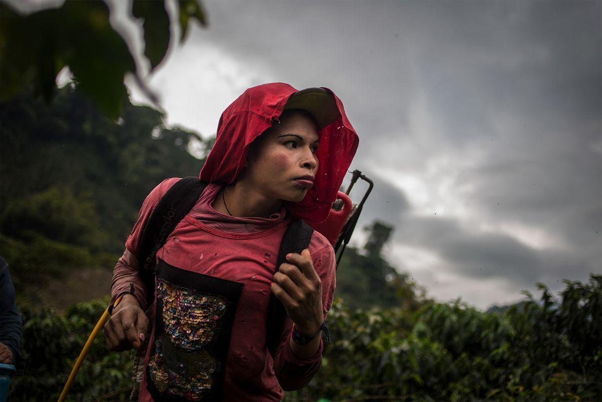 Yuliana trabaja jornadas de 10 horas en una plantación de café cerca de la aldea de ...