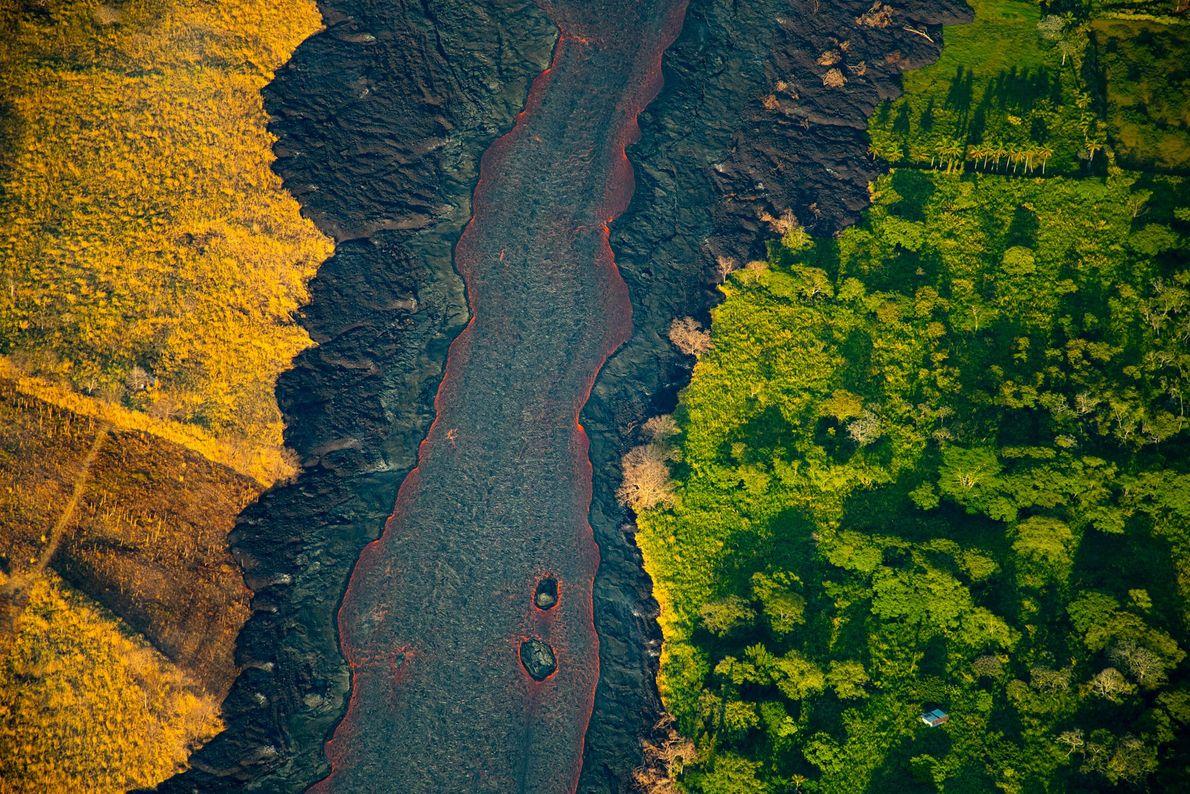 El sol se eleva sobre un río de lava que surge de una fisura activa. En ...